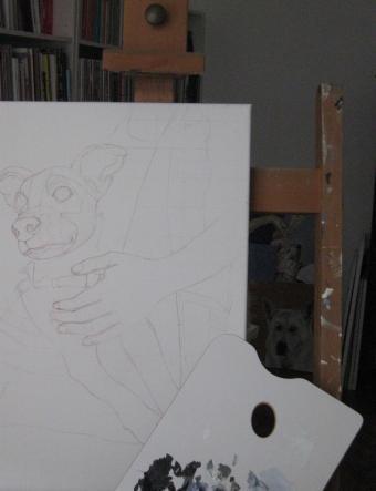 Ich male Hundeporträts nach Fotovorlagen.