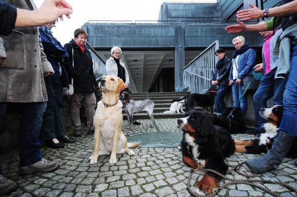 Eine Gruppe mit Hunden und ihren Haltern vor dem Kunstmuseum © Presseamt Bochum/