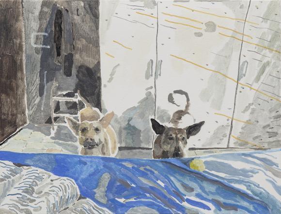 Swimming, 2015, oil on canvas, 30 x 40 cm © Chris Huen Sin Kan