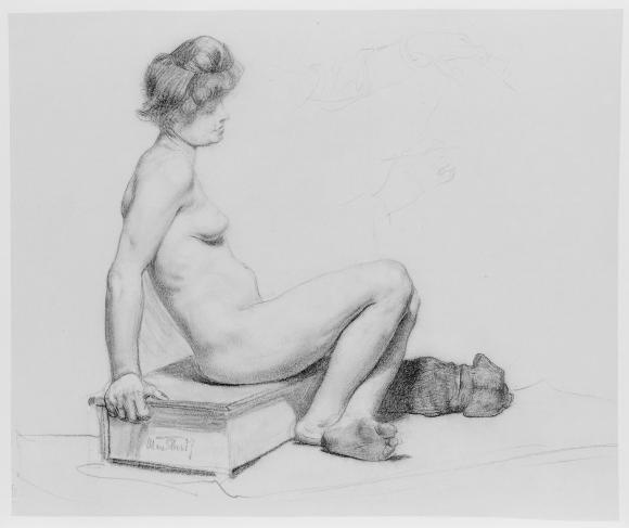 Max Thedy, Weiblicher Akt mit Hund, um 1880/1900