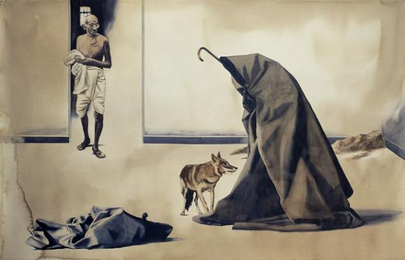 """Bapu at Rene Block Gallery, New York, 1974"", 1998 © Atul Dodiya"