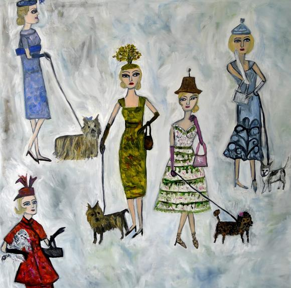 Blonde haired women in absurd little hats walking miniature dogs © Vivienne Stra