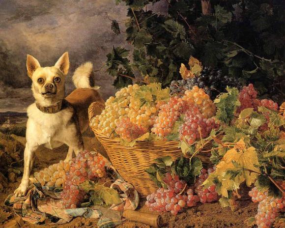Georg Ferdinand Waldmüller, Ein Hund neben einem Korb Weintrauben in der Landsch