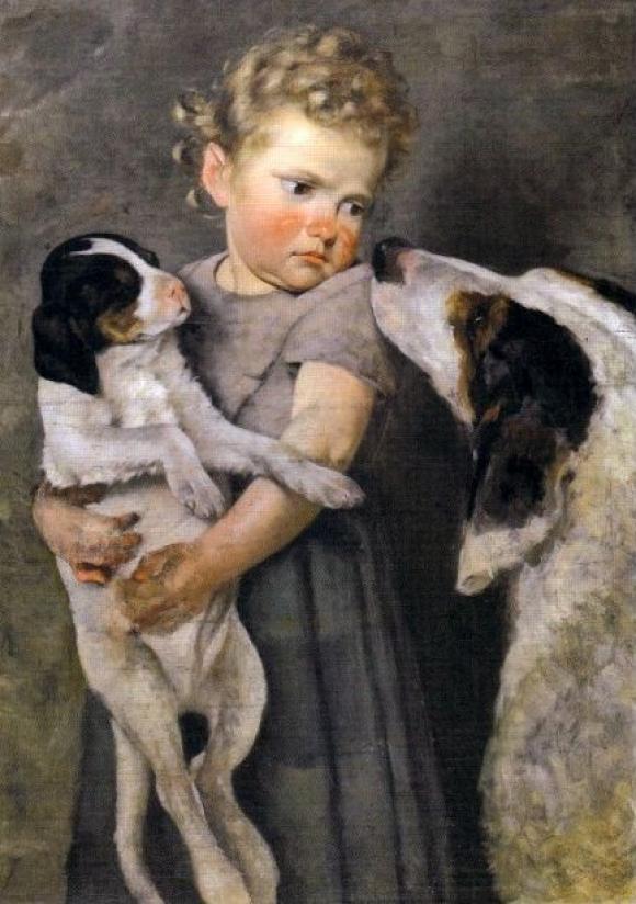 Achille Glisenti, Bambina con cani (1875)