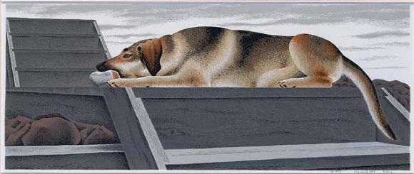 Alex Colville, Le chien d'or, 1987