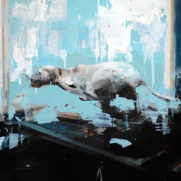 Alex Kanevsky, Blue Room with Running Dog, Ausschnitt
