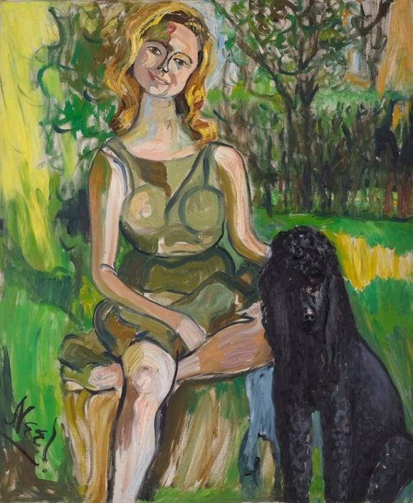 Alice Neel. Carol with a Dog, 1962, Courtesy the Artist's Estate and Victoria Mi