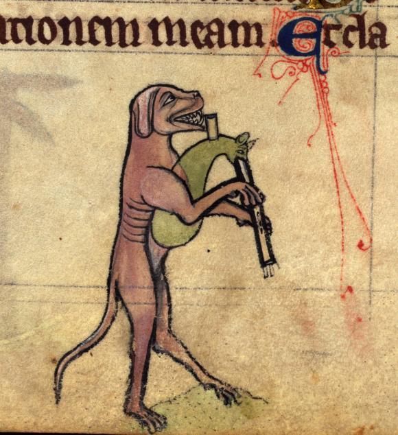 Hund mit Dudelsack
