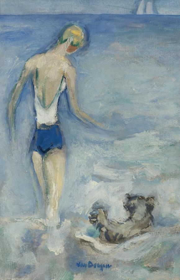 Bather and her dog in the waves © Kees van Dongen