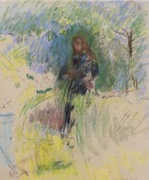 Berthe Morisot, Jeune Fille Tenant un Chien dans ses Bras, 1892