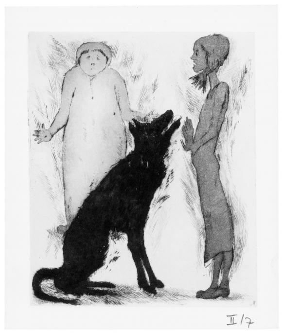 Günter Grass, Ohne Titel, 2013; Radierung  Hundejahre