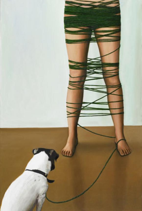 Karen Holländer - Selbstporträt mit Hund, 2006