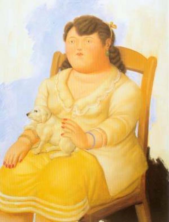 Botero - Mujer con Perro, 1996