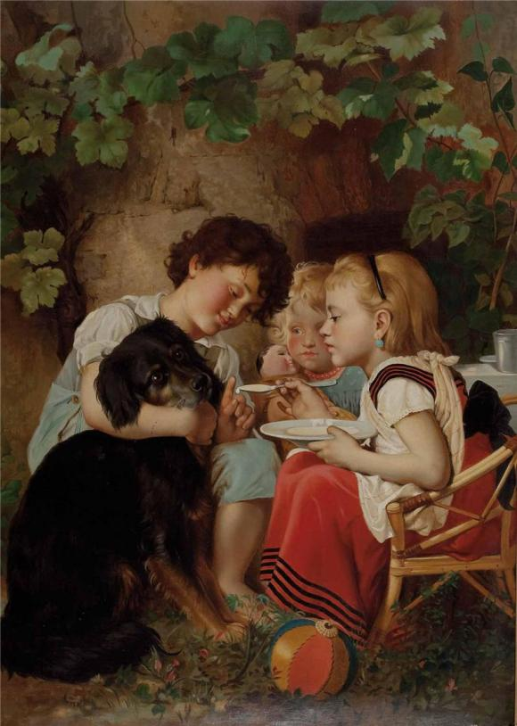 Carl Reichert, Drei Kinder füttern einen Hund