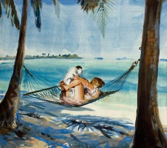 Cony Theis - Mädchen mit Hund unter Palmen, 2010