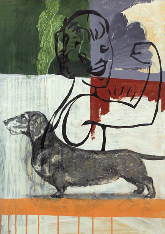 Dackel, 2006, Mischtechnik auf Papier, 80 x 60 cm © Felix Weinold