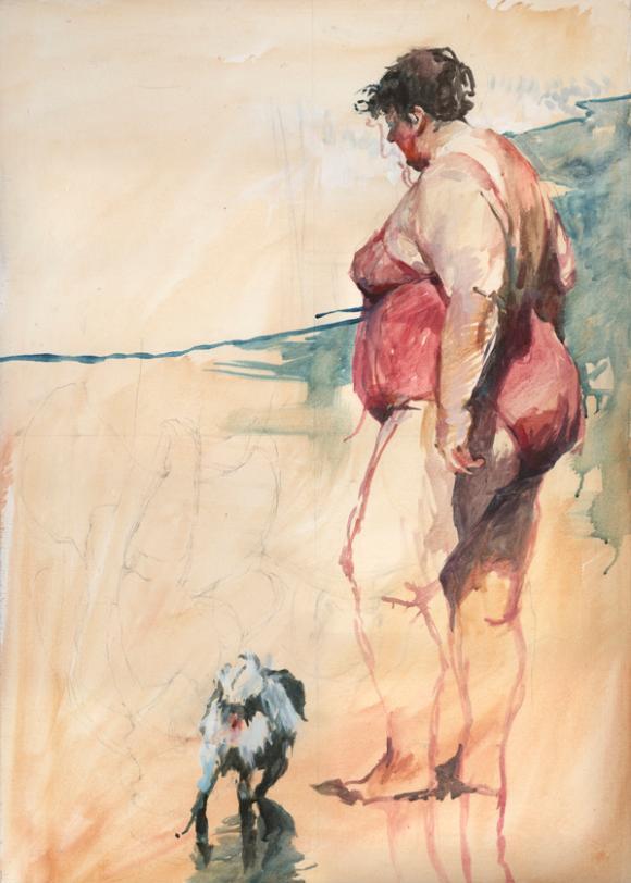 Jonas Lauströer, Dame mit Hund am Strand, 2010