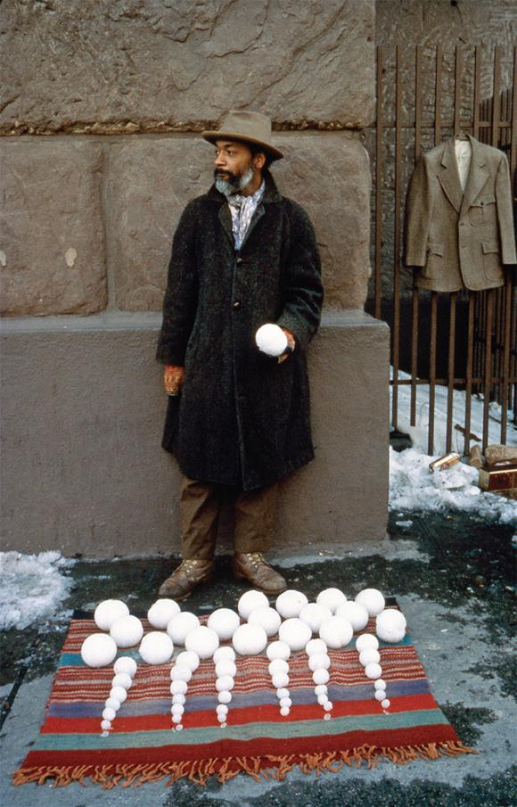 David Hammons, Bliz-aard Ball Sale, 1983. Performance view, Cooper Square, New Y