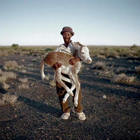 David Tieties with his three-day-old donkey. Verneukpan, Northern Cape,