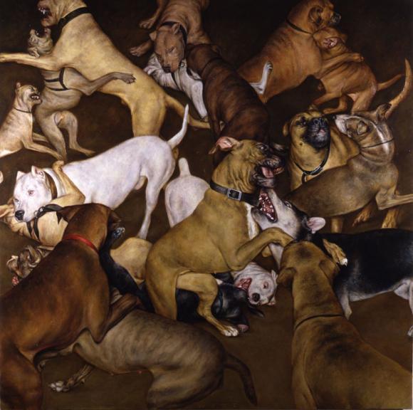 Dogs Fighting, 2002 © Dan Witz