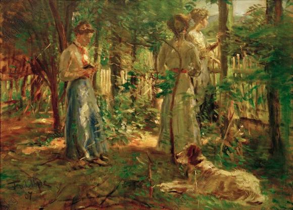 Fritz von Uhde, Drei Mädchen im Garten, 1907 © von der Heydt Museum