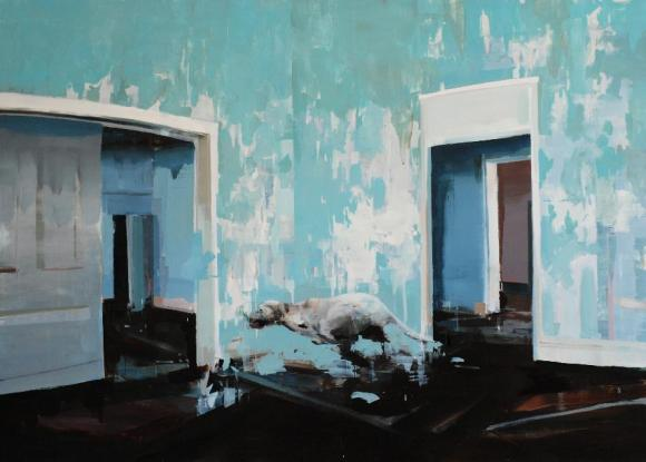 Alex Kanevsky, Blue Room with Running Dog