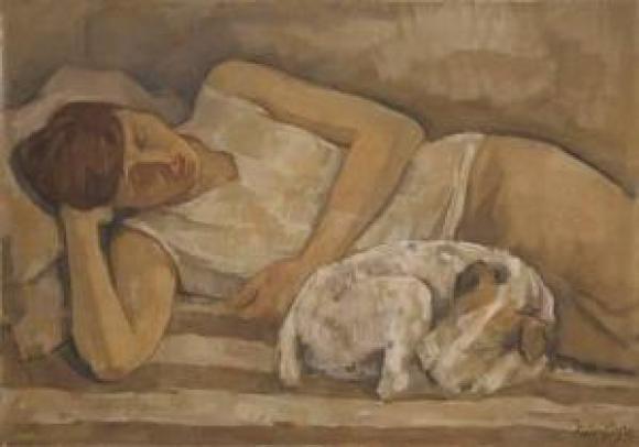 Emil Rudolf Weiss, Renée Sintenis mt ihrem Hund, 1930