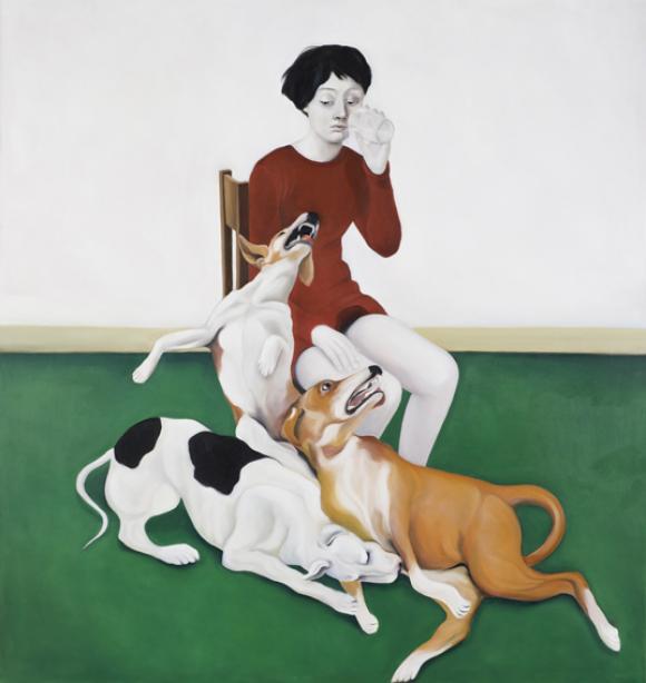 Frau mit Wasserglas und Hunden, 2011 © Nina Mambourg