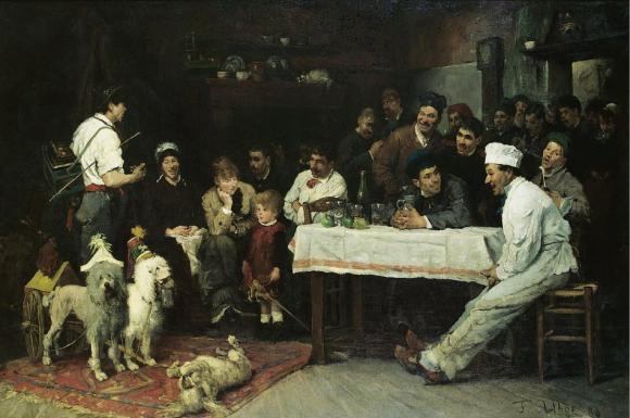 Fritz von Uhde, Die gelehrten Hunde, 1880