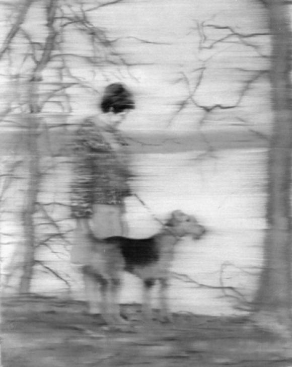 Gerhard Richter, Frau mit Hund am See, 1967