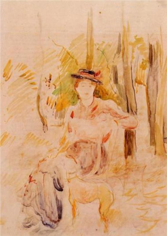 Berthe Morisot, Mädchen mit Windhund, 1893