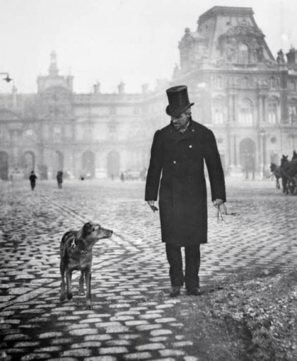 Gustave Caillebotte mit seinem Hund Bergère