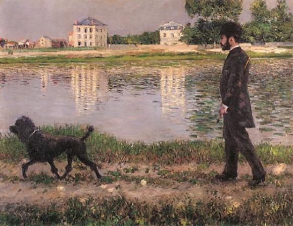 Gustave Caillebotte, Richard Gallo und sein Hund Dick in Petit Gennevilliers,,