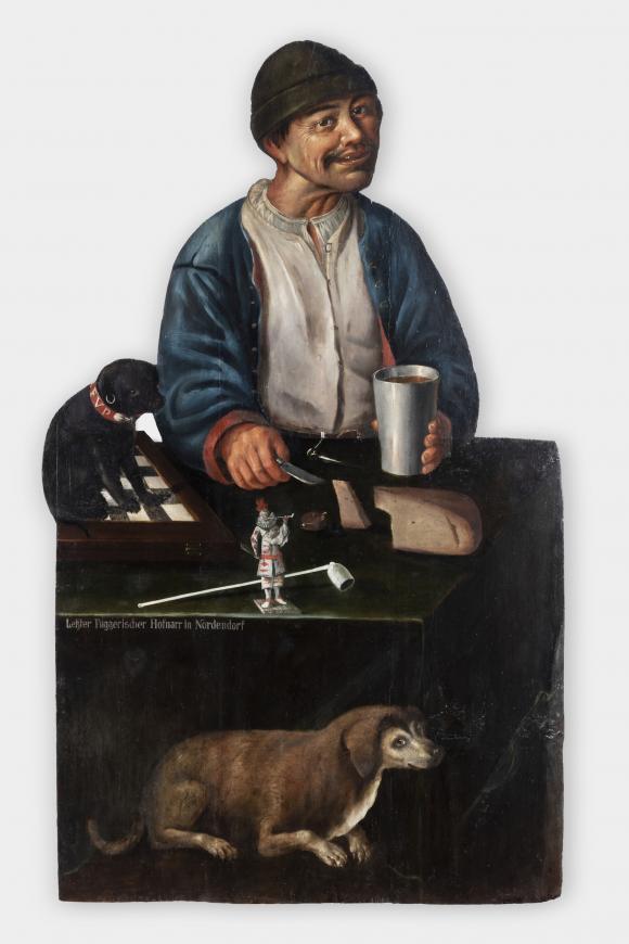 Hofnarr der Familie Fugger-Nordendorf mit zwei Hunden, Süddeutschland, 1. Hälfte