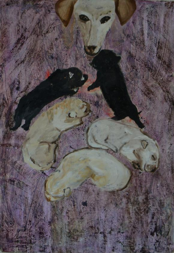 Hundefamilie violett, 2017 © Verena Crow