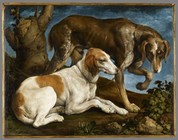 Jacopo Bassano, Deux chiens de chasse liés à une souche, 1548-1549