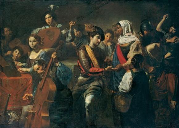 Valentin de Boulogne, Fröhliche Gesellschaft mit Wahrsagerin (die fünf Sinne)