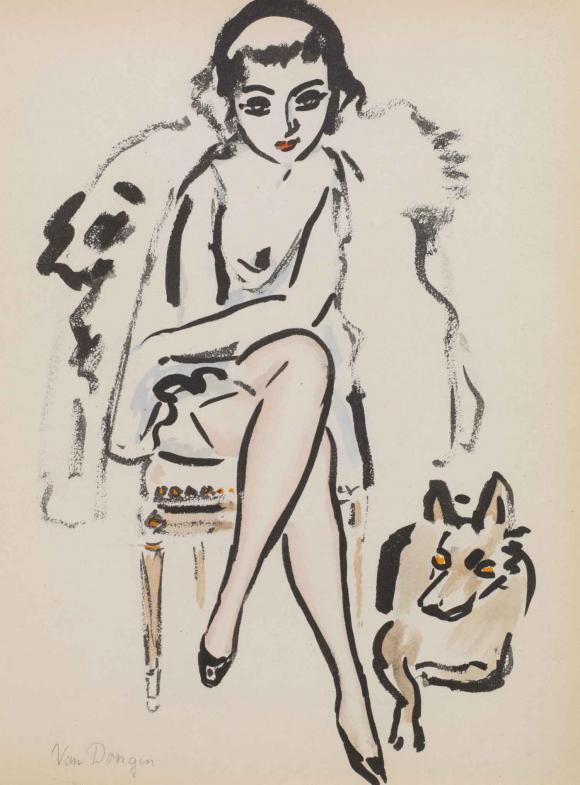Jeune femme au chien © Kees van Dongen