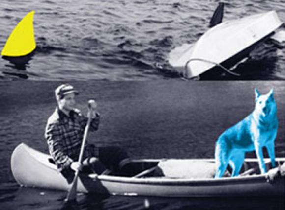 John Baldessari, Man, Dog (Blue), Canoe/Shark Fins (One Yellow), Capsized Boat,
