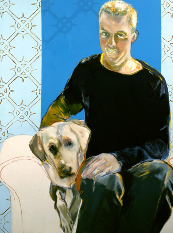 Esther Fritzsche, Junger Mann mit Hund, 2002