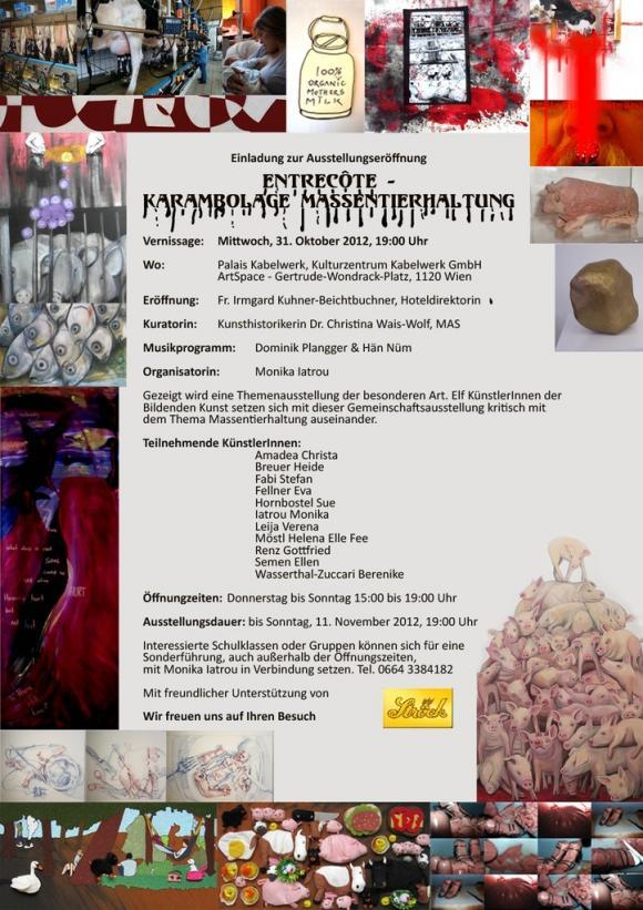 Plakat Entrecôte - Karambolage Massentierhaltung