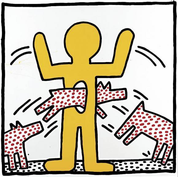 Keith Haring , Ohne Titel, 1982, Gebranntes Email auf Stahl, Courtesy Larry Wals