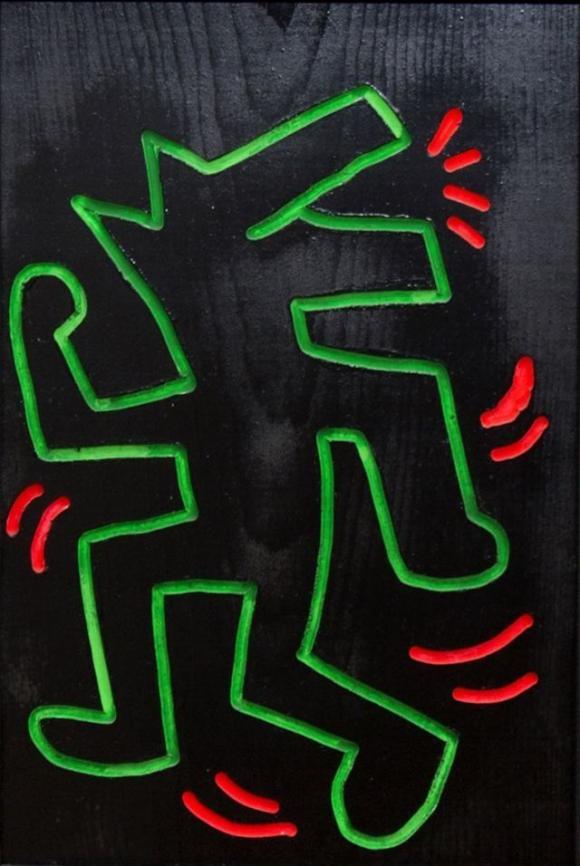 Keith Haring, Ohne Titel, 1983, Leuchtfarbe und Lack auf Holz, Gerald Hartinger