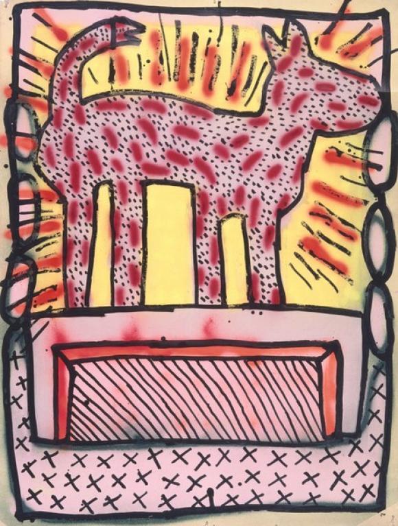 Keith Haring, Ohne Titel, 1980, Sprühemail, Tinte und Acryl auf Plakatkarton ©
