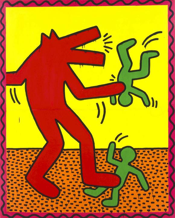 Keith Haring, Ohne Titel, 1982, Email und Leuchtfarbe auf Metall © The Keith Har