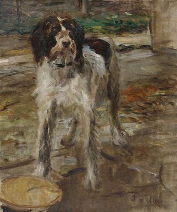 Fritz von Uhde, Kitsch, der Hund des Künstlers, 1900