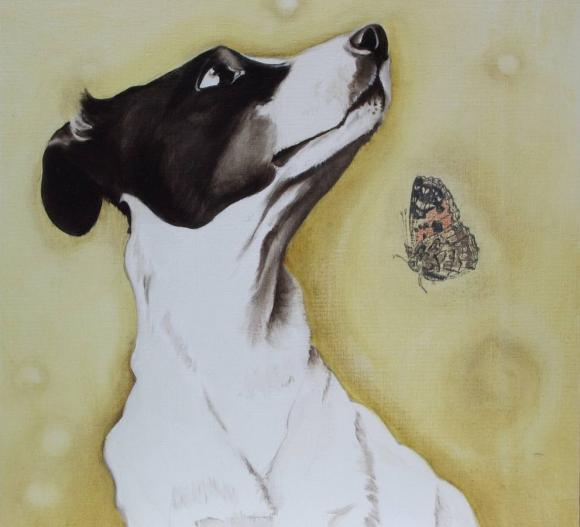 Marianna Gartner, Dog with butterfly, 2008