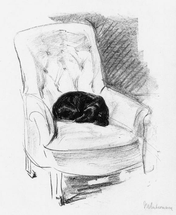 Max Liebermann, Dackel im Lehnstuhl, 1914