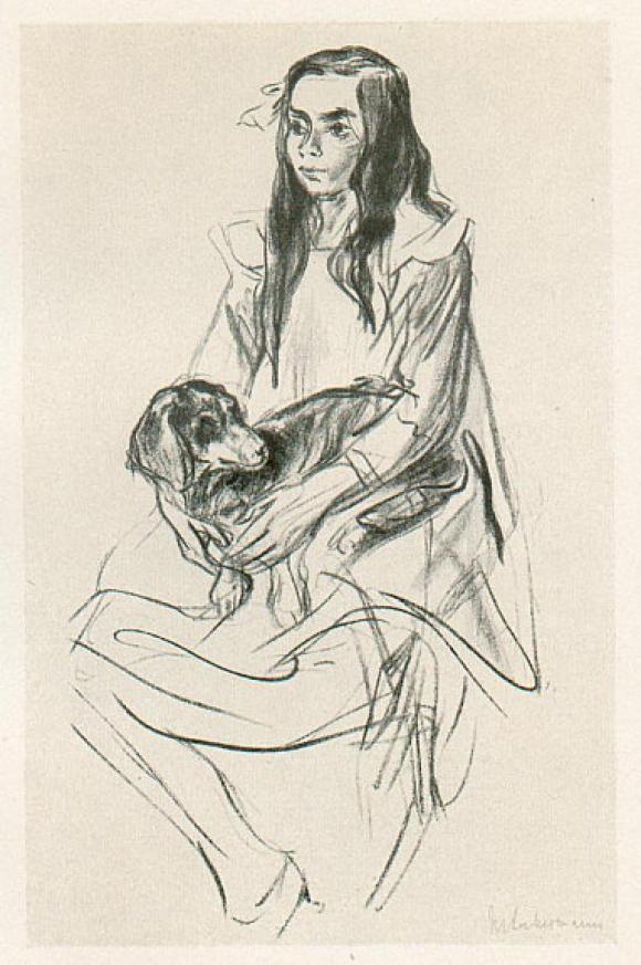 Max Liebermann, Sitzendes Mädchen mit Dackel, 1922