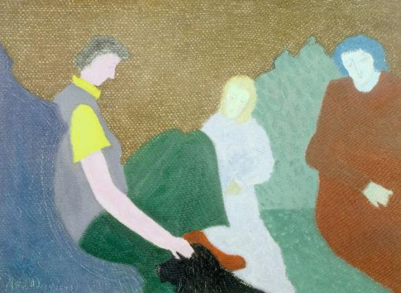 Milton Avery, Three Figures and a Dog, 1943